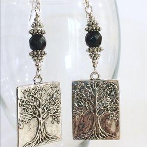 Jewelry - Tree of life onyx earrings